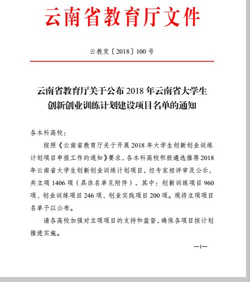 2018nian云南省daxuesheng创新创业xun练计hua建设项mu立项文件